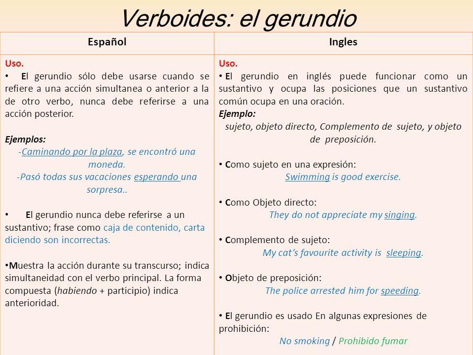 Verboides: el gerundio EspañolIngles Uso. El gerundio sólo debe usarse cuando se refiere a una acción simultanea o anterior a la de otro verbo, nunca