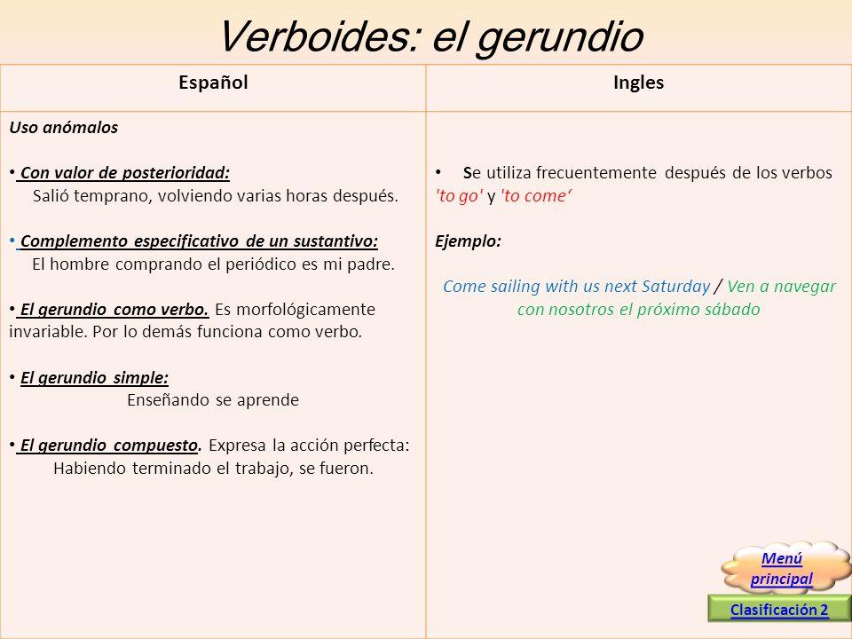 Verboides: el gerundio EspañolIngles Uso anómalos Con valor de posterioridad: Salió temprano, volviendo varias horas después. Complemento especificati