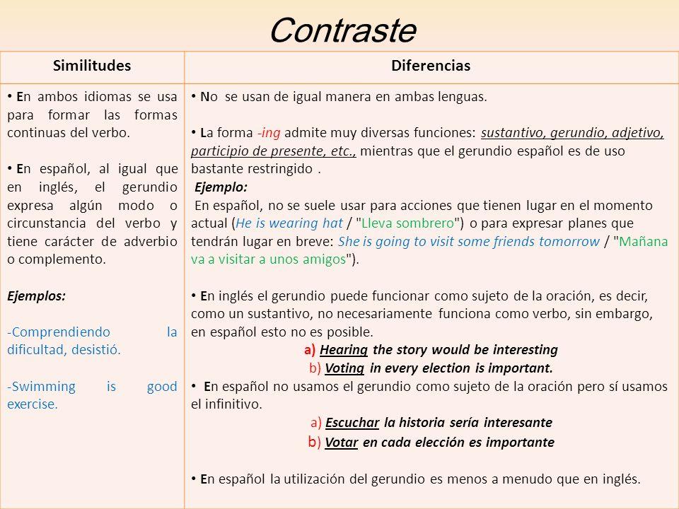 Contraste SimilitudesDiferencias En ambos idiomas se usa para formar las formas continuas del verbo. En español, al igual que en inglés, el gerundio e