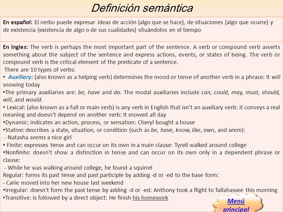 Definición semántica En español: El verbo puede expresar ideas de acción (algo que se hace), de situaciones (algo que ocurre) y de existencia (existen