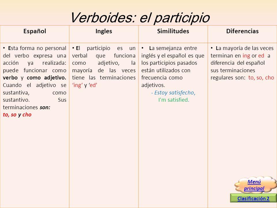 Verboides: el participio Esta forma no personal del verbo expresa una acción ya realizada: puede funcionar como verbo y como adjetivo. Cuando el adjet