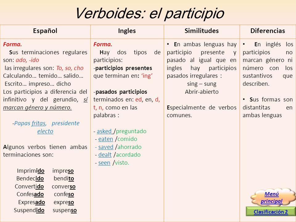 Verboides: el participio EspañolInglesSimilitudesDiferencias Forma. Sus terminaciones regulares son: ado, -ido las irregulares son: To, so, cho Calcul