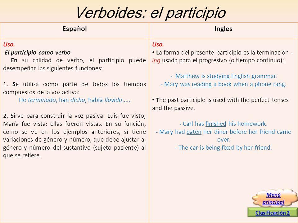 Verboides: el participio EspañolIngles Uso. El participio como verbo En su calidad de verbo, el participio puede desempeñar las siguientes funciones: