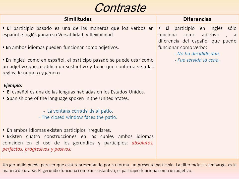 Contraste SimilitudesDiferencias El participio pasado es una de las maneras que los verbos en español e inglés ganan su Versatilidad y flexibilidad. E