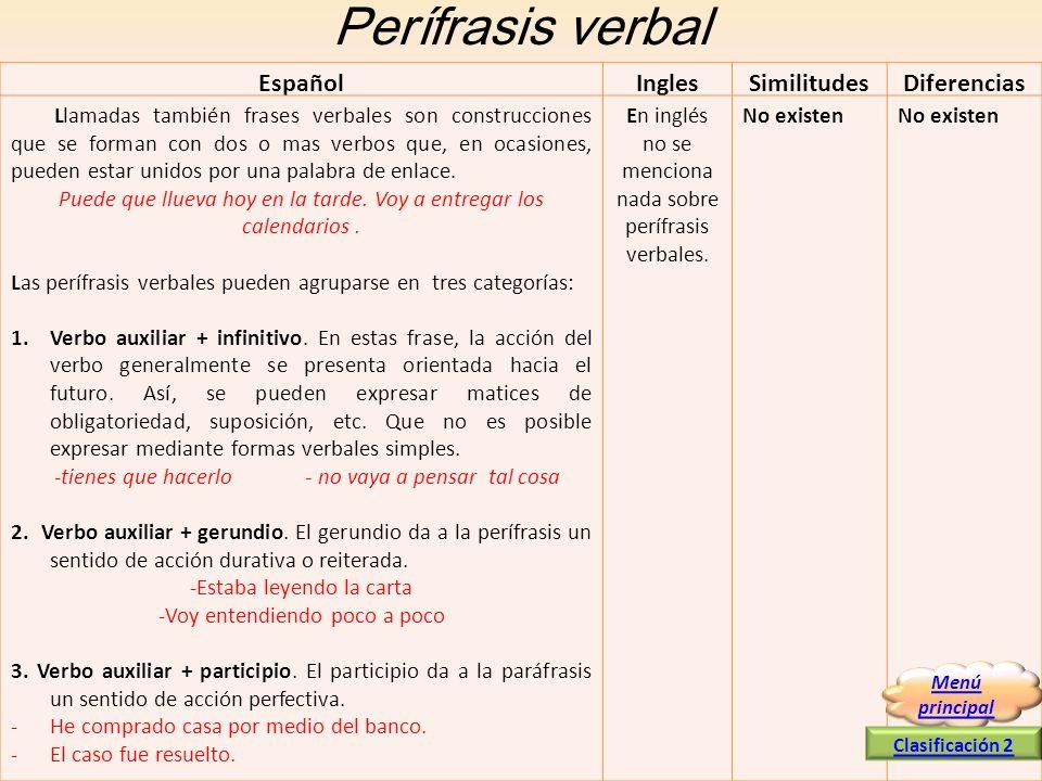 Perífrasis verbal EspañolInglesSimilitudesDiferencias Llamadas también frases verbales son construcciones que se forman con dos o mas verbos que, en o