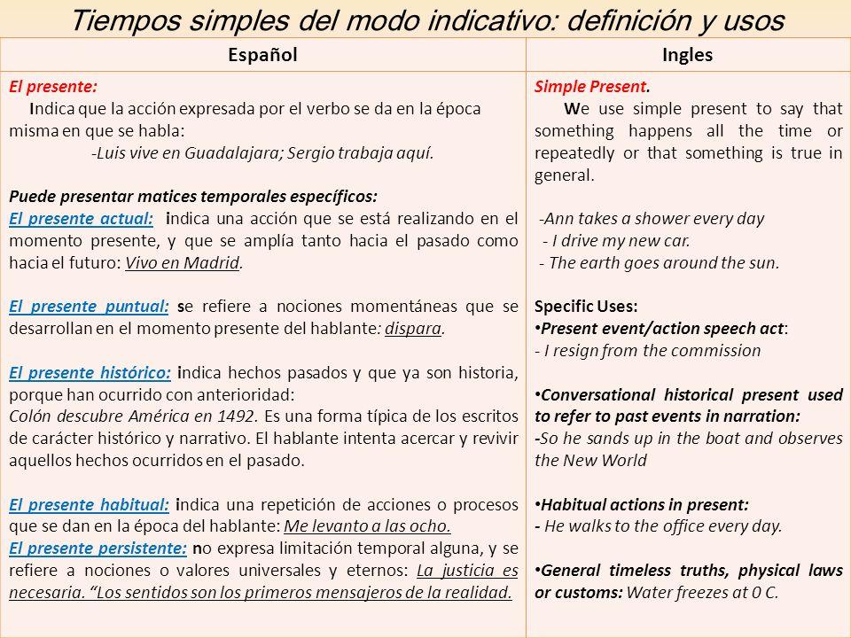 Tiempos simples del modo indicativo: definición y usos EspañolIngles El presente: Indica que la acción expresada por el verbo se da en la época misma