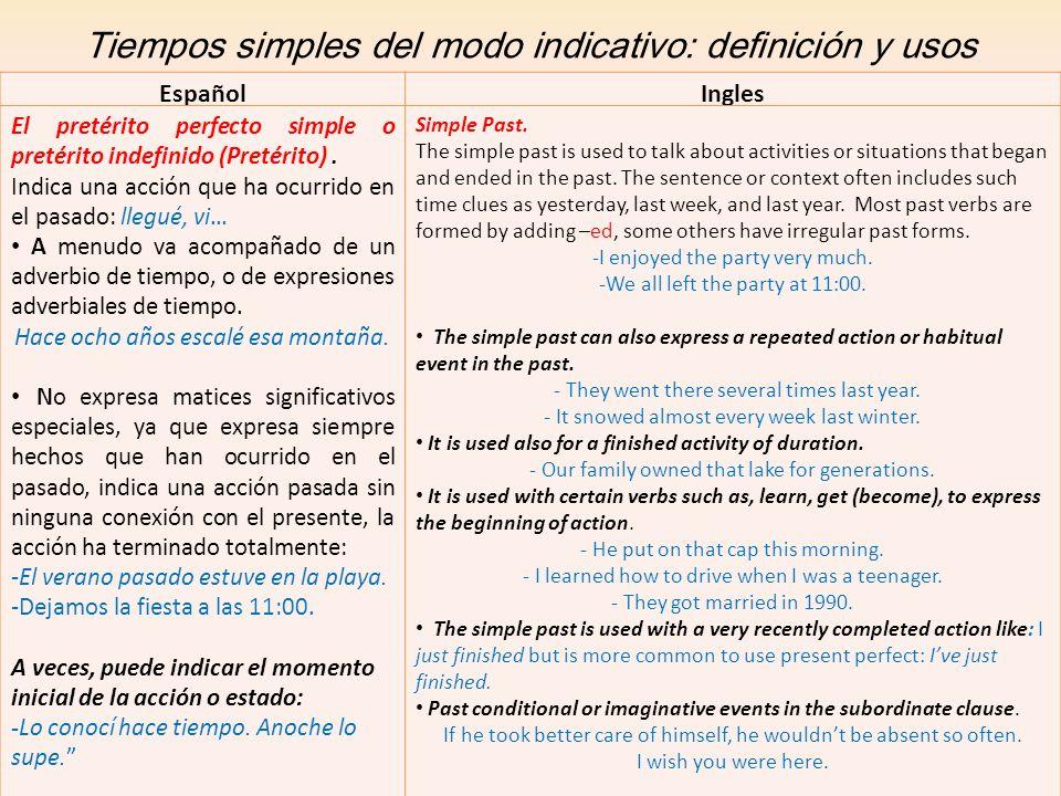 Tiempos simples del modo indicativo: definición y usos EspañolIngles El pretérito perfecto simple o pretérito indefinido (Pretérito). Indica una acció