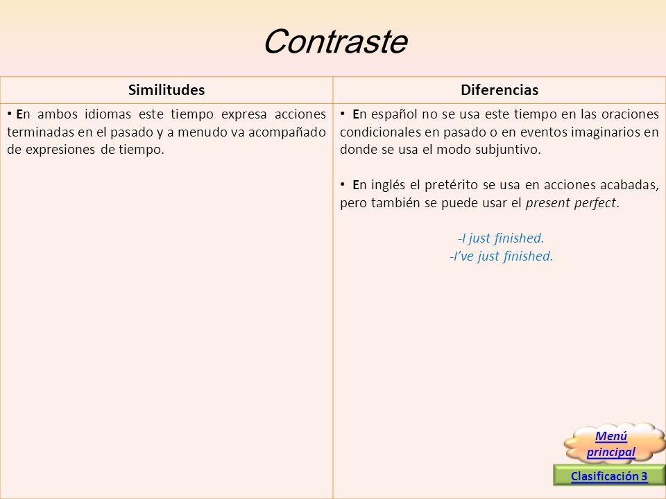 Contraste En ambos idiomas este tiempo expresa acciones terminadas en el pasado y a menudo va acompañado de expresiones de tiempo. En español no se us