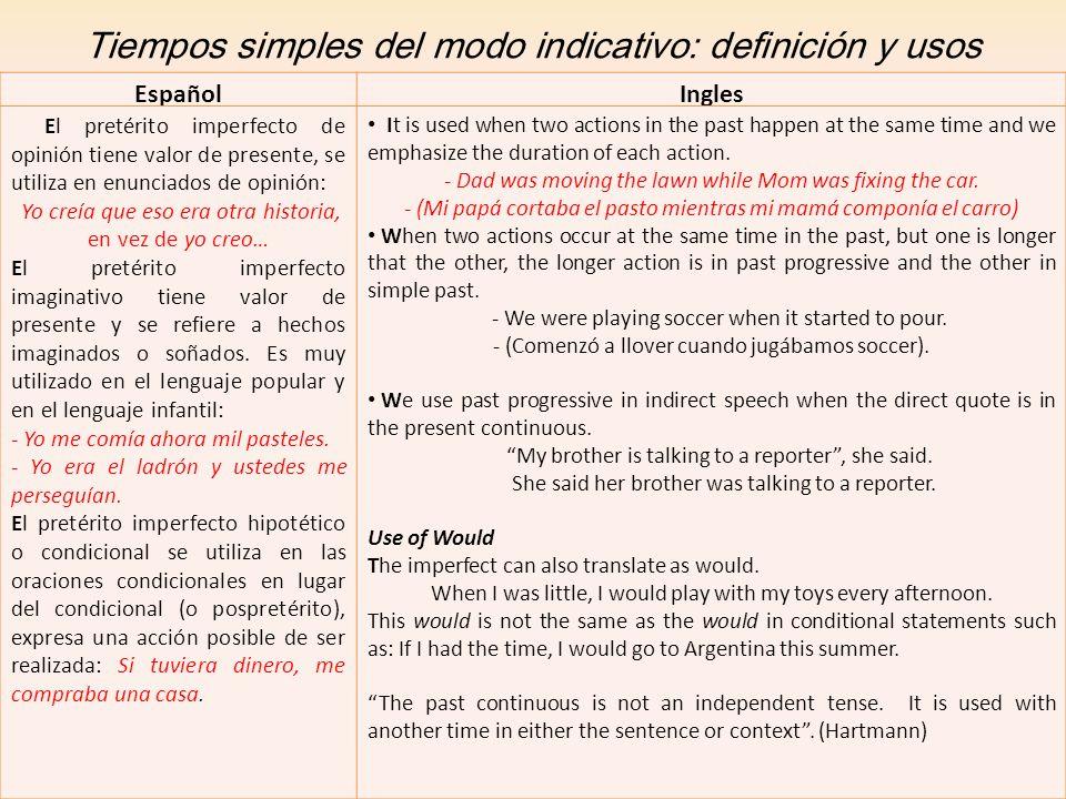 Tiempos simples del modo indicativo: definición y usos EspañolIngles El pretérito imperfecto de opinión tiene valor de presente, se utiliza en enuncia