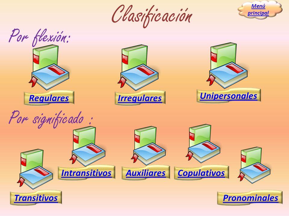 Clasificación RegularesIrregulares Transitivos IntransitivosCopulativosAuxiliares Pronominales Unipersonales Por flexión: Por significado : Menú princ