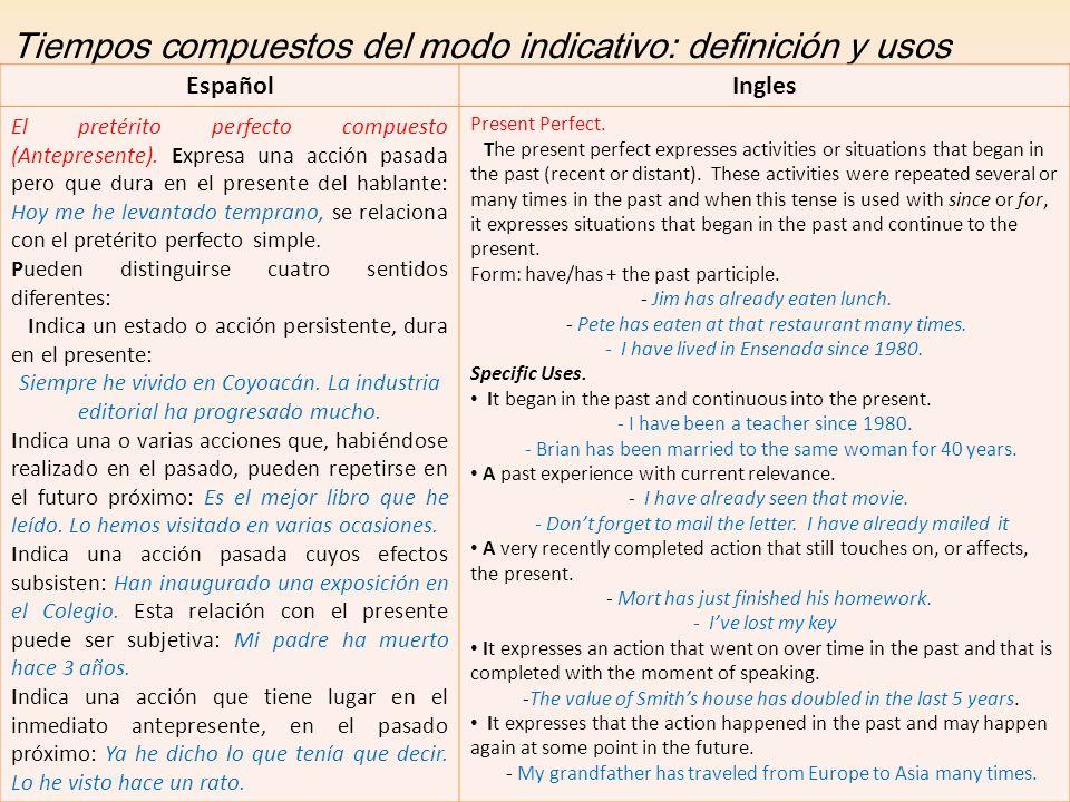 Tiempos compuestos del modo indicativo: definición y usos EspañolIngles El pretérito perfecto compuesto (Antepresente). Expresa una acción pasada pero