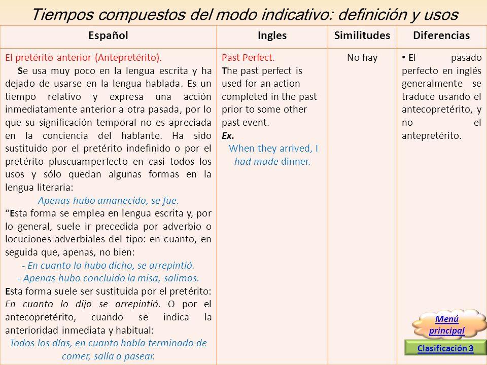 Tiempos compuestos del modo indicativo: definición y usos EspañolInglesSimilitudesDiferencias El pretérito anterior (Antepretérito). Se usa muy poco e