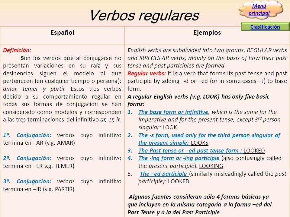 Verbos regulares EspañolEjemplos Definición: Son los verbos que al conjugarse no presentan variaciones en su raíz y sus desinencias siguen el modelo a