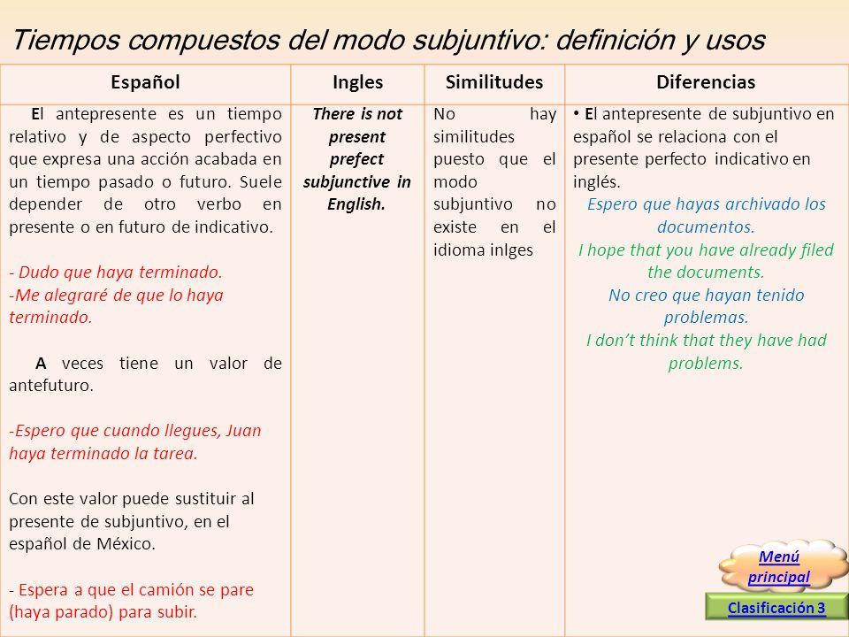 Tiempos compuestos del modo subjuntivo: definición y usos El antepresente es un tiempo relativo y de aspecto perfectivo que expresa una acción acabada