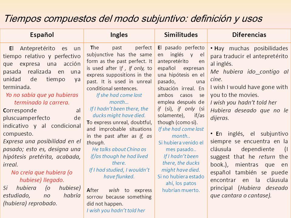 Tiempos compuestos del modo subjuntivo: definición y usos El Antepretérito es un tiempo relativo y perfectivo que expresa una acción pasada realizada