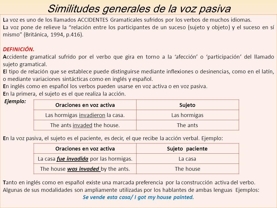 Similitudes generales de la voz pasiva La voz es uno de los llamados ACCIDENTES Gramaticales sufridos por los verbos de muchos idiomas. La voz pone de
