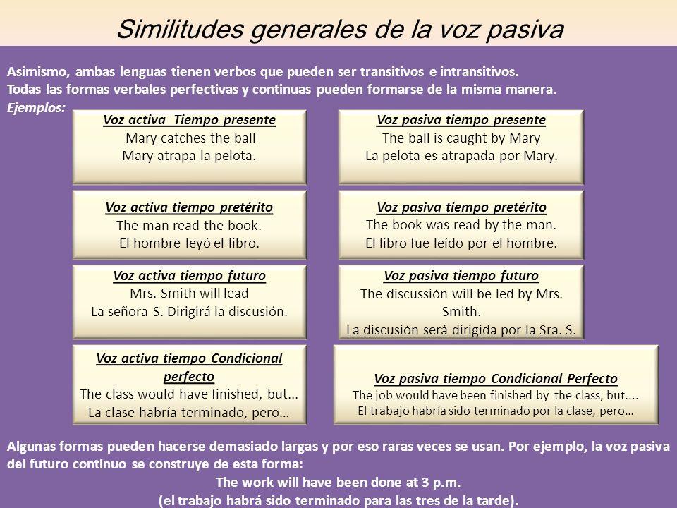 Similitudes generales de la voz pasiva Asimismo, ambas lenguas tienen verbos que pueden ser transitivos e intransitivos. Todas las formas verbales per