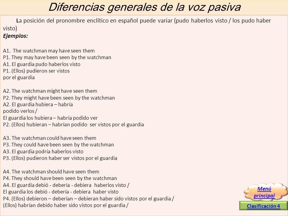 Diferencias generales de la voz pasiva La posición del pronombre enclítico en español puede variar (pudo haberlos visto / los pudo haber visto) Ejempl