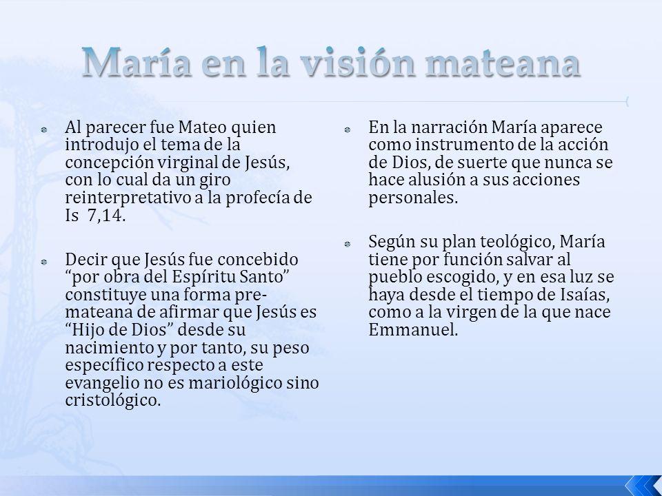 Al parecer fue Mateo quien introdujo el tema de la concepción virginal de Jesús, con lo cual da un giro reinterpretativo a la profecía de Is 7,14.