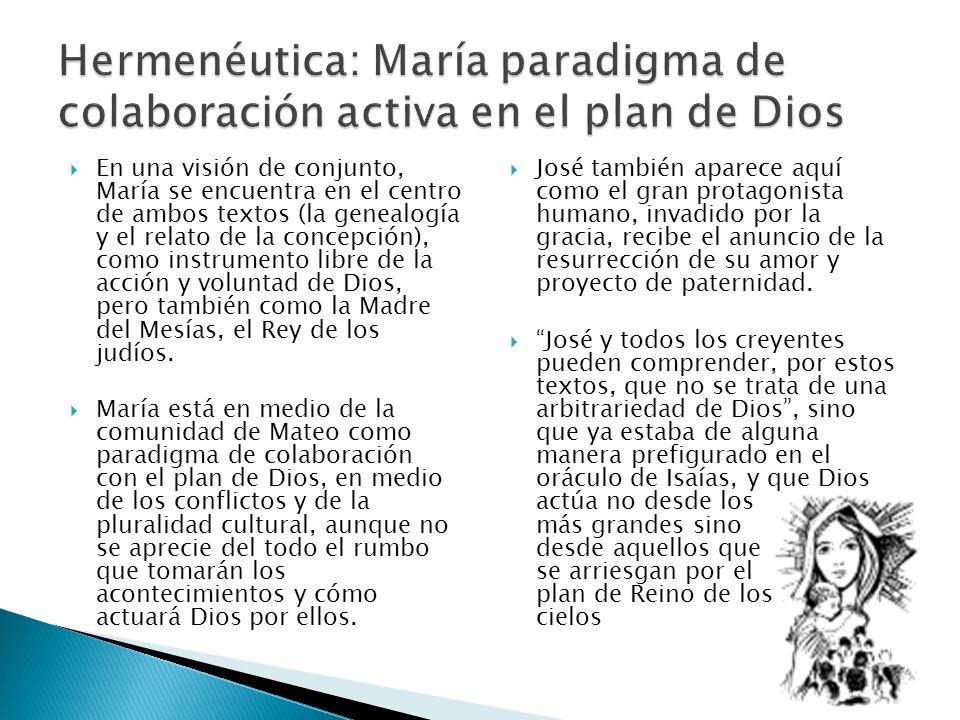 En una visión de conjunto, María se encuentra en el centro de ambos textos (la genealogía y el relato de la concepción), como instrumento libre de la acción y voluntad de Dios, pero también como la Madre del Mesías, el Rey de los judíos.
