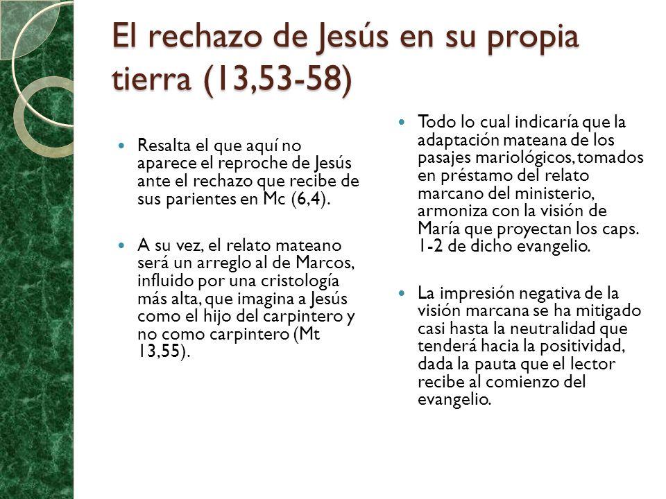 El rechazo de Jesús en su propia tierra (13,53-58) Resalta el que aquí no aparece el reproche de Jesús ante el rechazo que recibe de sus parientes en Mc (6,4).