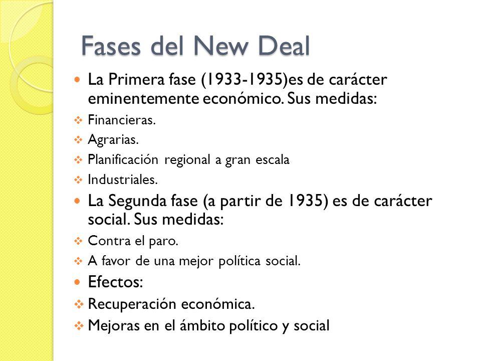 Fases del New Deal La Primera fase (1933-1935)es de carácter eminentemente económico.