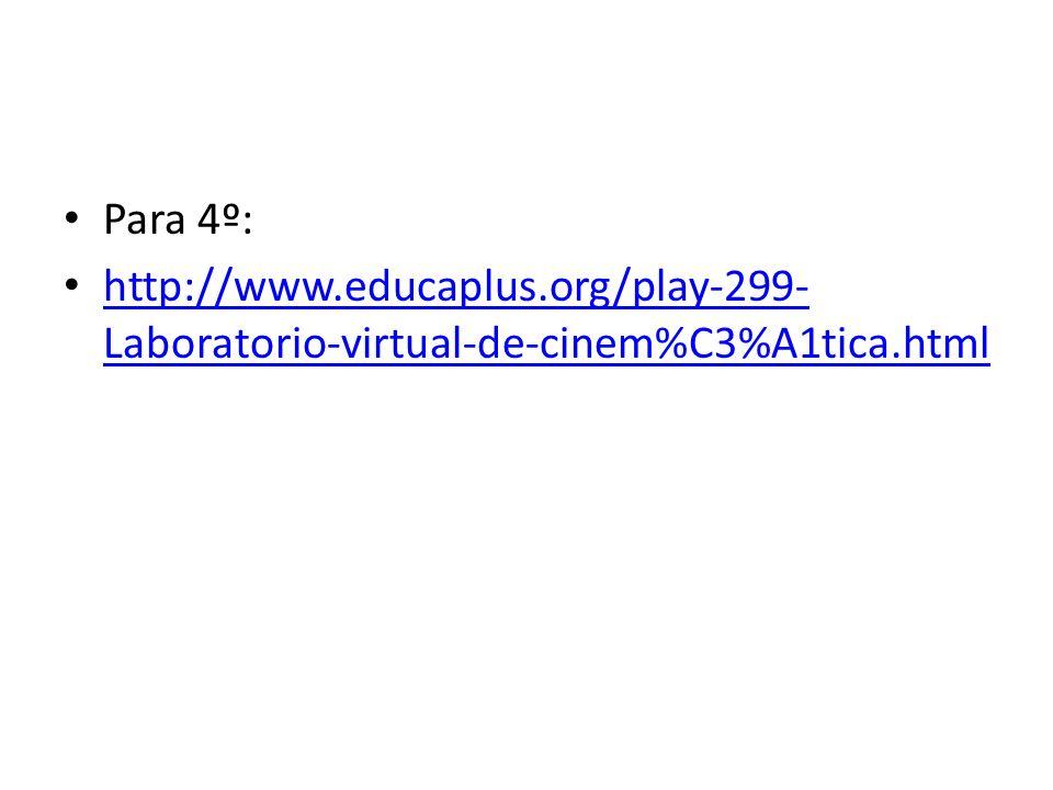 Para 4º: http://www.educaplus.org/play-299- Laboratorio-virtual-de-cinem%C3%A1tica.html http://www.educaplus.org/play-299- Laboratorio-virtual-de-cine