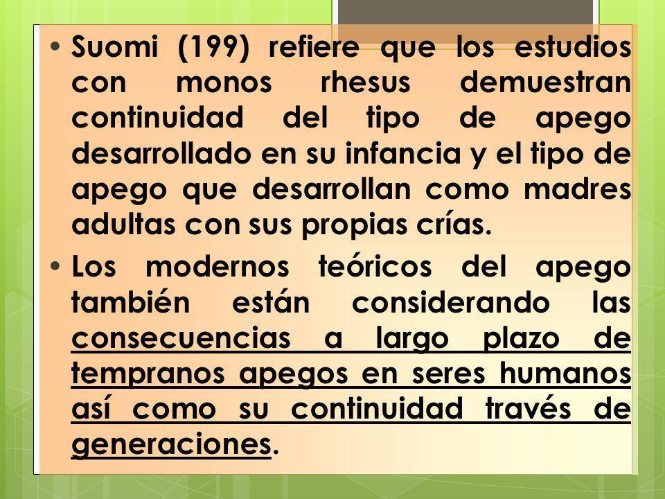 Suomi (199) refiere que los estudios con monos rhesus demuestran continuidad del tipo de apego desarrollado en su infancia y el tipo de apego que desa