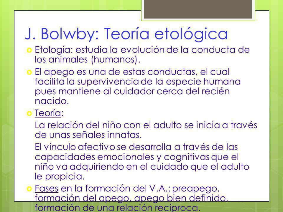 J. Bolwby: Teoría etológica Etología: estudia la evolución de la conducta de los animales (humanos). El apego es una de estas conductas, el cual facil
