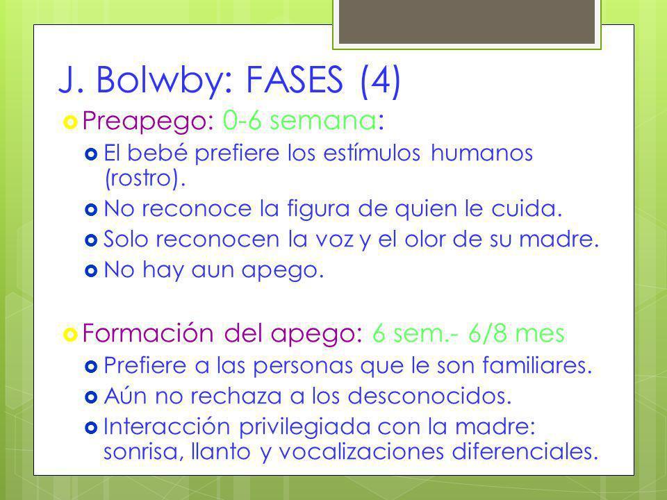 J. Bolwby: FASES (4) Preapego: 0-6 semana: El bebé prefiere los estímulos humanos (rostro). No reconoce la figura de quien le cuida. Solo reconocen la