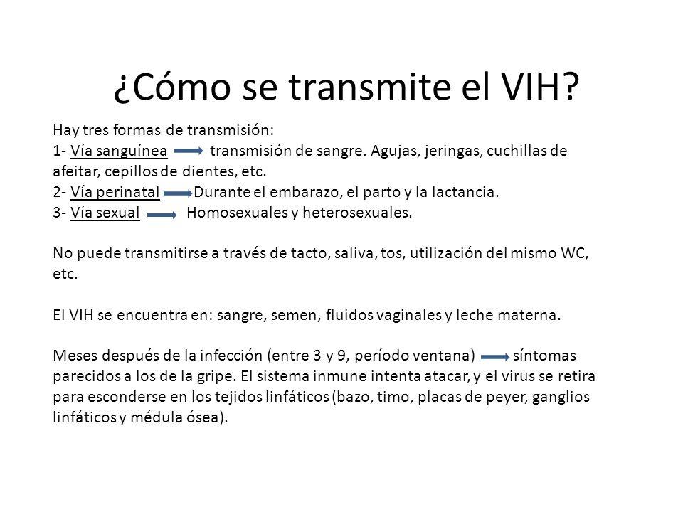 ¿Cómo se transmite el VIH? Hay tres formas de transmisión: 1- Vía sanguínea transmisión de sangre. Agujas, jeringas, cuchillas de afeitar, cepillos de