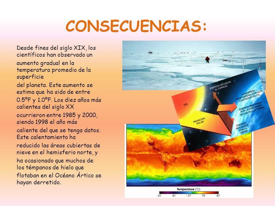 CONSECUENCIAS: Desde fines del siglo XIX, los científicos han observado un aumento gradual en la temperatura promedio de la superficie del planeta. Es