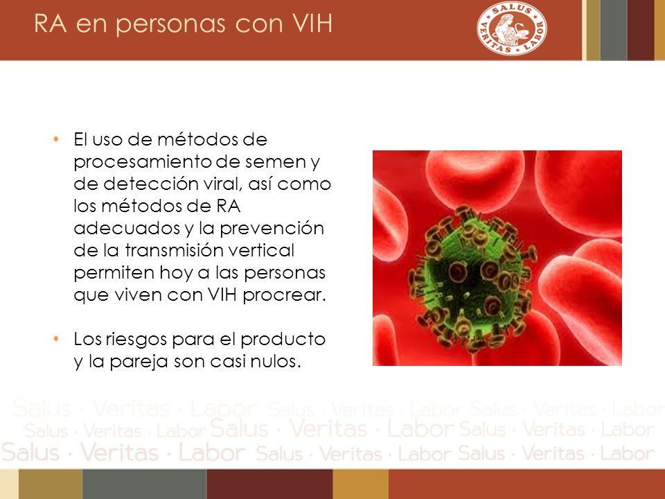 RA en personas con VIH El uso de métodos de procesamiento de semen y de detección viral, así como los métodos de RA adecuados y la prevención de la tr