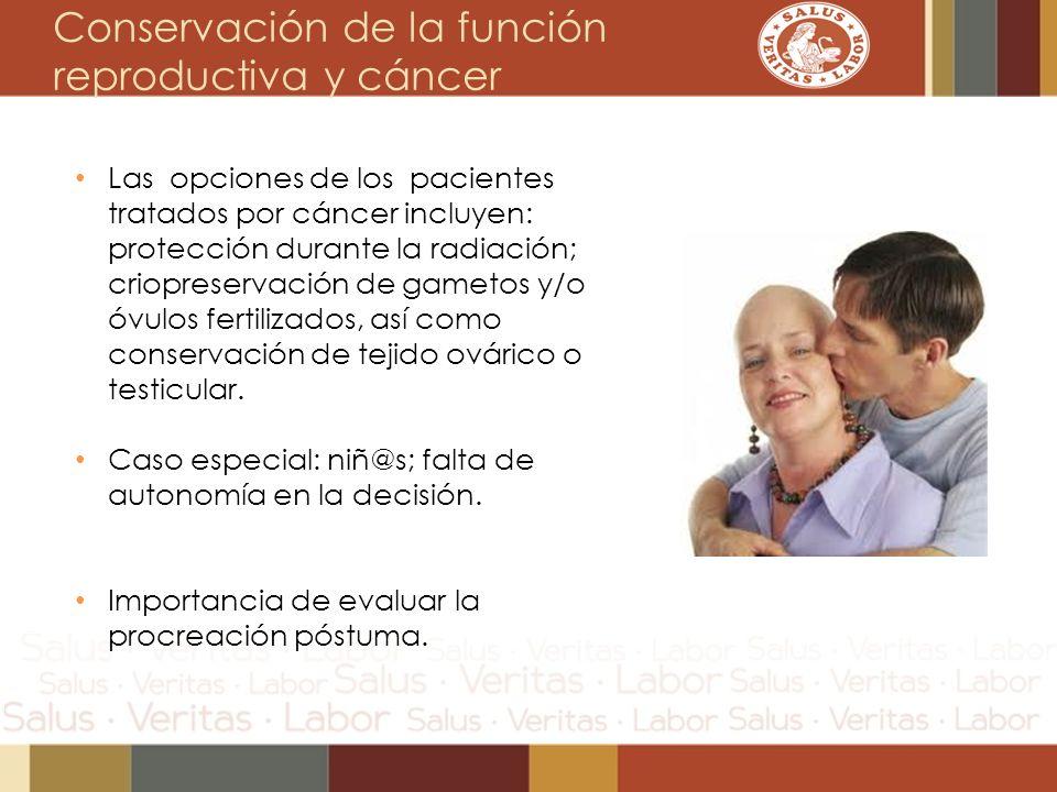 Conservación de la función reproductiva y cáncer Las opciones de los pacientes tratados por cáncer incluyen: protección durante la radiación; criopres
