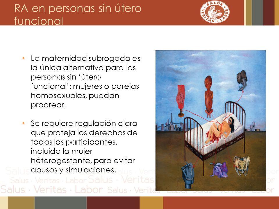 RA en personas sin útero funcional La maternidad subrogada es la única alternativa para las personas sin útero funcional: mujeres o parejas homosexual