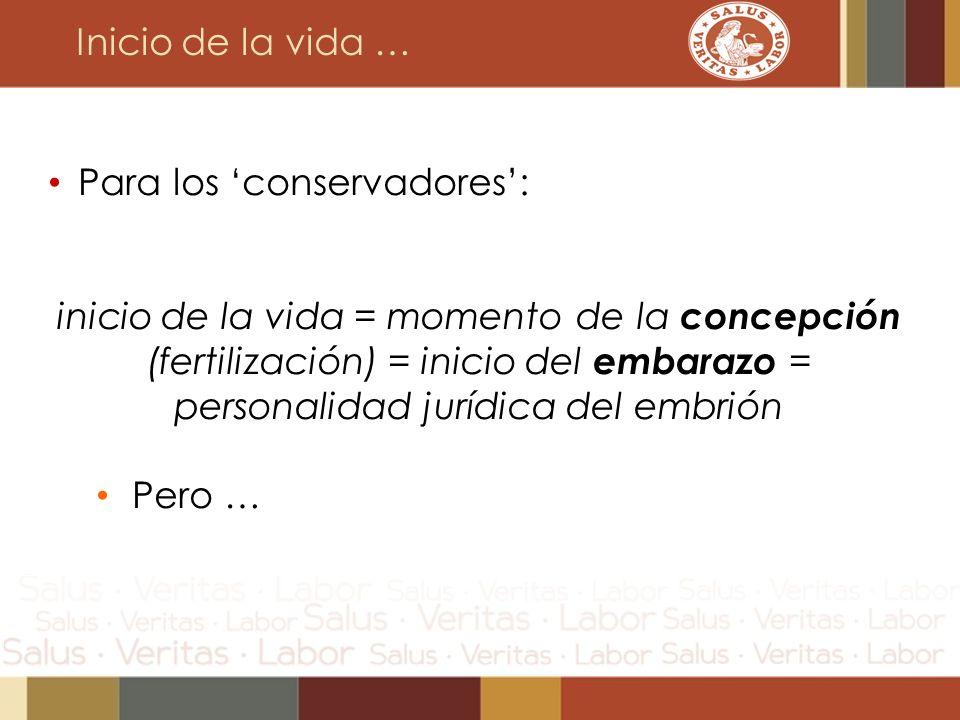 Inicio de la vida … Para los conservadores: inicio de la vida = momento de la concepción (fertilización) = inicio del embarazo = personalidad jurídica