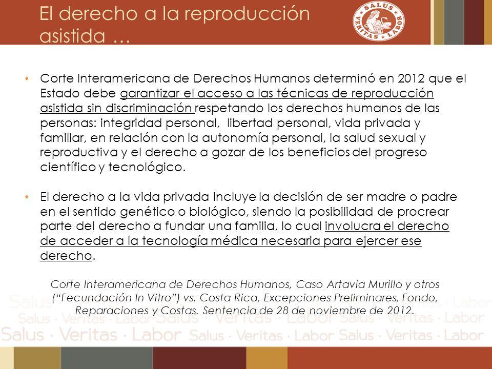 El derecho a la reproducción asistida … Corte Interamericana de Derechos Humanos determinó en 2012 que el Estado debe garantizar el acceso a las técni