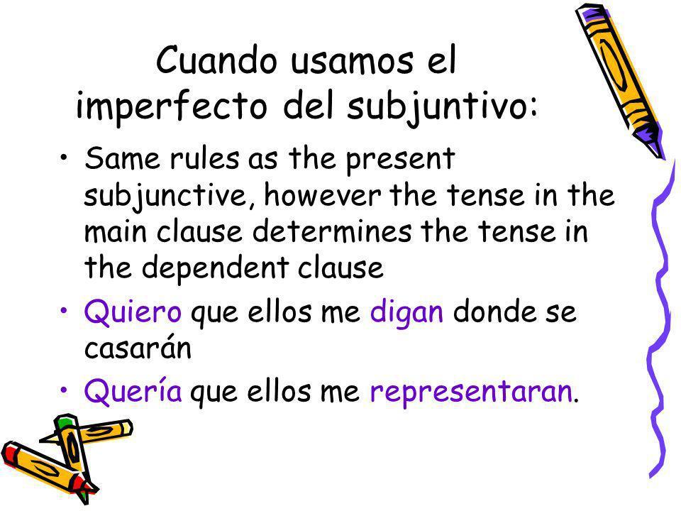 Presentefuturo Presente del subjuntivo Pretéritoimperfectocondicional Imperfecto del subjuntivo