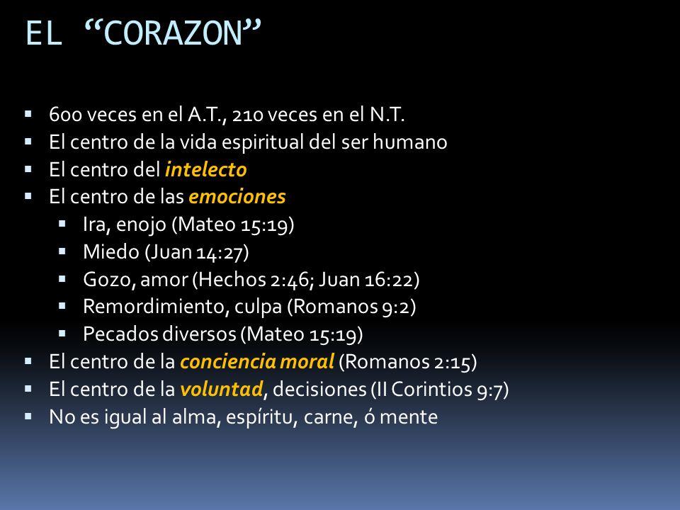 EL CORAZON 600 veces en el A.T., 210 veces en el N.T. El centro de la vida espiritual del ser humano El centro del intelecto El centro de las emocione