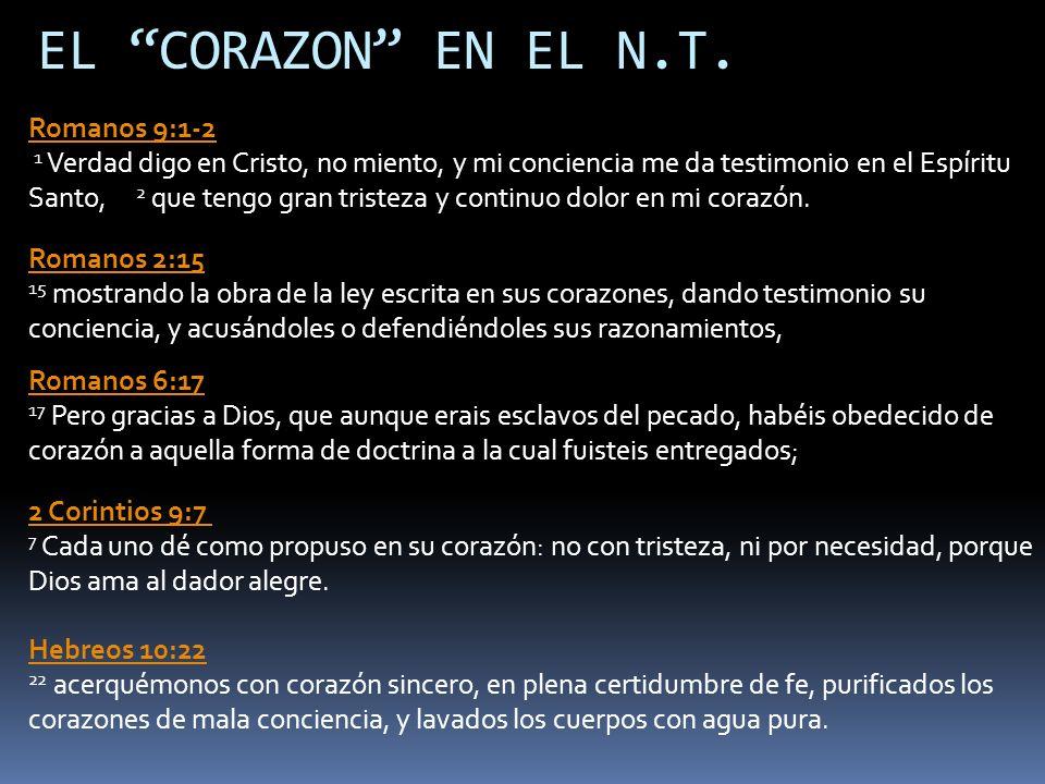 EL CORAZON EN EL N.T. Romanos 9:1-2 1 Verdad digo en Cristo, no miento, y mi conciencia me da testimonio en el Espíritu Santo, 2 que tengo gran triste