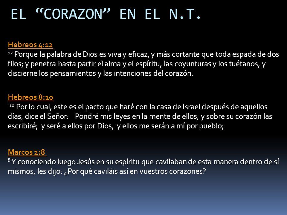 EL CORAZON EN EL N.T. Hebreos 4:12 12 Porque la palabra de Dios es viva y eficaz, y más cortante que toda espada de dos filos; y penetra hasta partir
