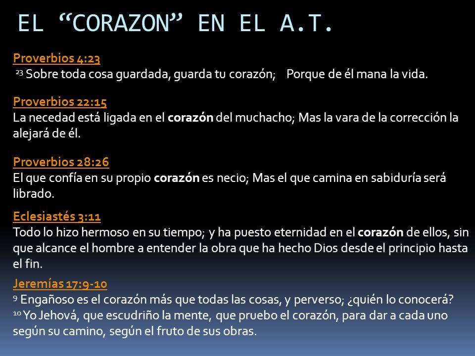 EL CORAZON EN EL A.T. Proverbios 22:15 Proverbios 22:15 La necedad está ligada en el corazón del muchacho; Mas la vara de la corrección la alejará de