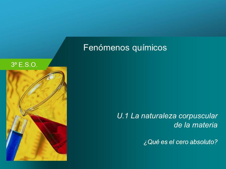 3º E.S.O. Fenómenos químicos U.1 La naturaleza corpuscular de la materia ¿Qué es el cero absoluto