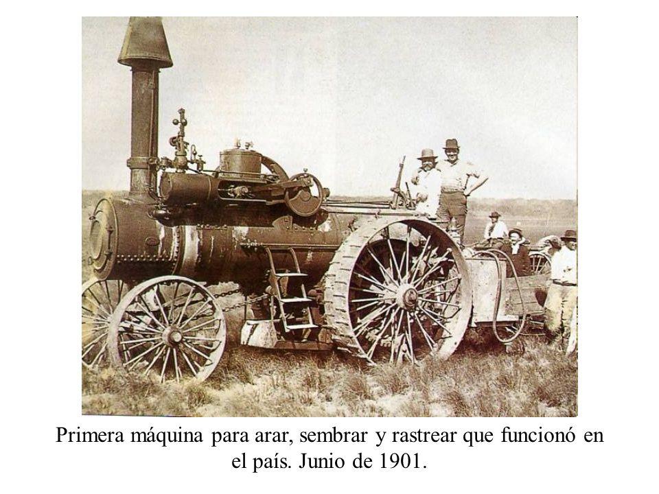 Primera máquina para arar, sembrar y rastrear que funcionó en el país. Junio de 1901.