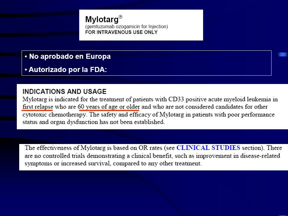 No aprobado en Europa Autorizado por la FDA: