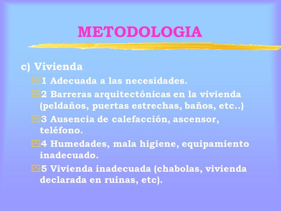 METODOLOGIA c) Vivienda y 1 Adecuada a las necesidades.
