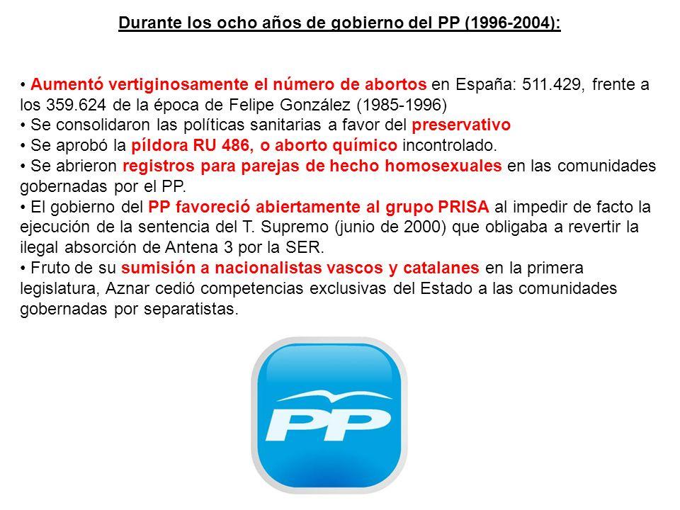 Durante los ocho años de gobierno del PP (1996-2004): Aumentó vertiginosamente el número de abortos en España: 511.429, frente a los 359.624 de la época de Felipe González (1985-1996) Se consolidaron las políticas sanitarias a favor del preservativo Se aprobó la píldora RU 486, o aborto químico incontrolado.