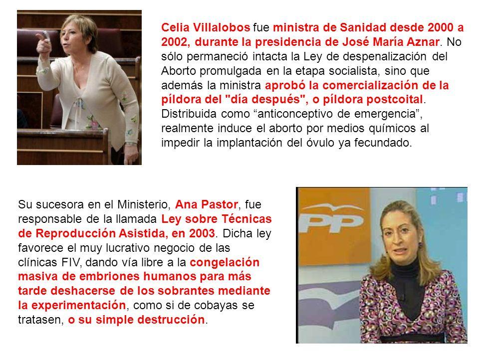 Celia Villalobos fue ministra de Sanidad desde 2000 a 2002, durante la presidencia de José María Aznar.