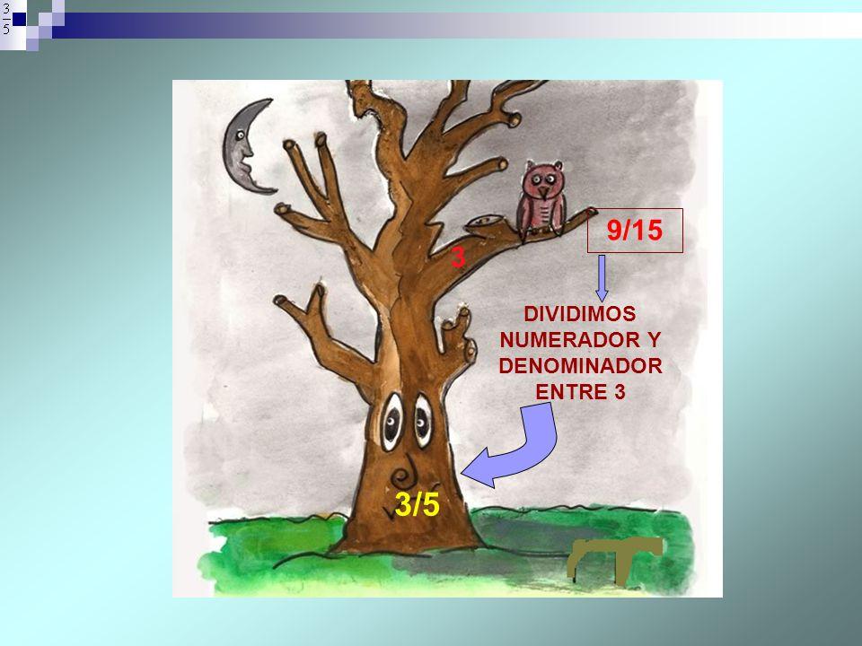 3 3/5 DIVIDIMOS NUMERADOR Y DENOMINADOR ENTRE 3