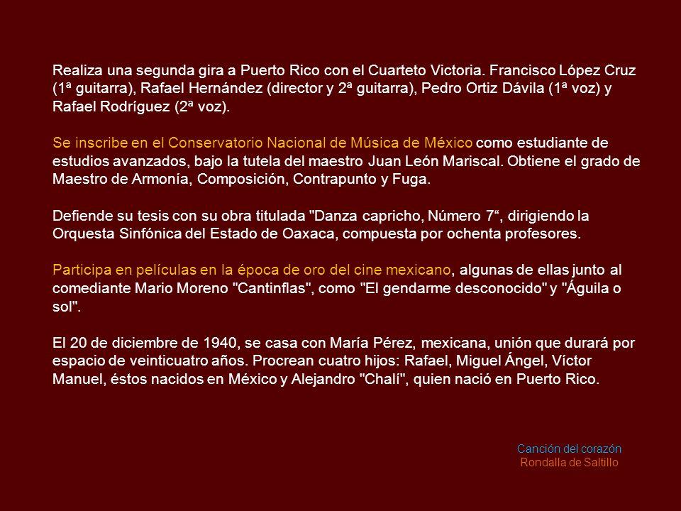 Realiza una segunda gira a Puerto Rico con el Cuarteto Victoria.